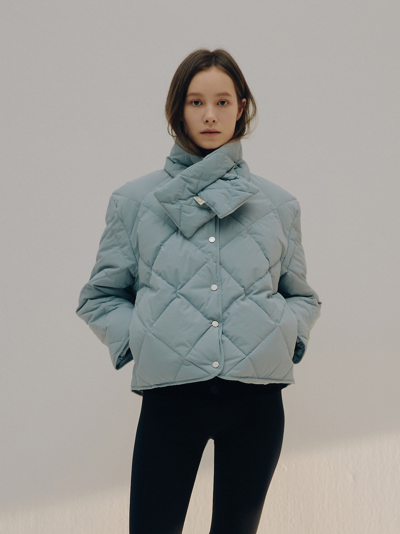 PRE-ORDER · Quilted Goose Down Jacket & Muffler Set (Sky/Black)