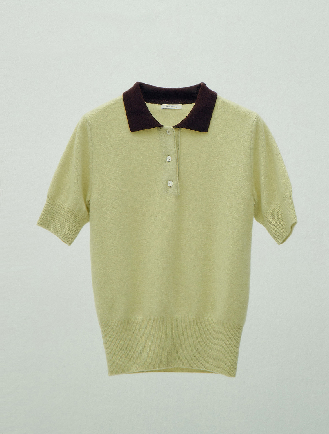 Two-Tone Cashmere Polo Shirt (Green)