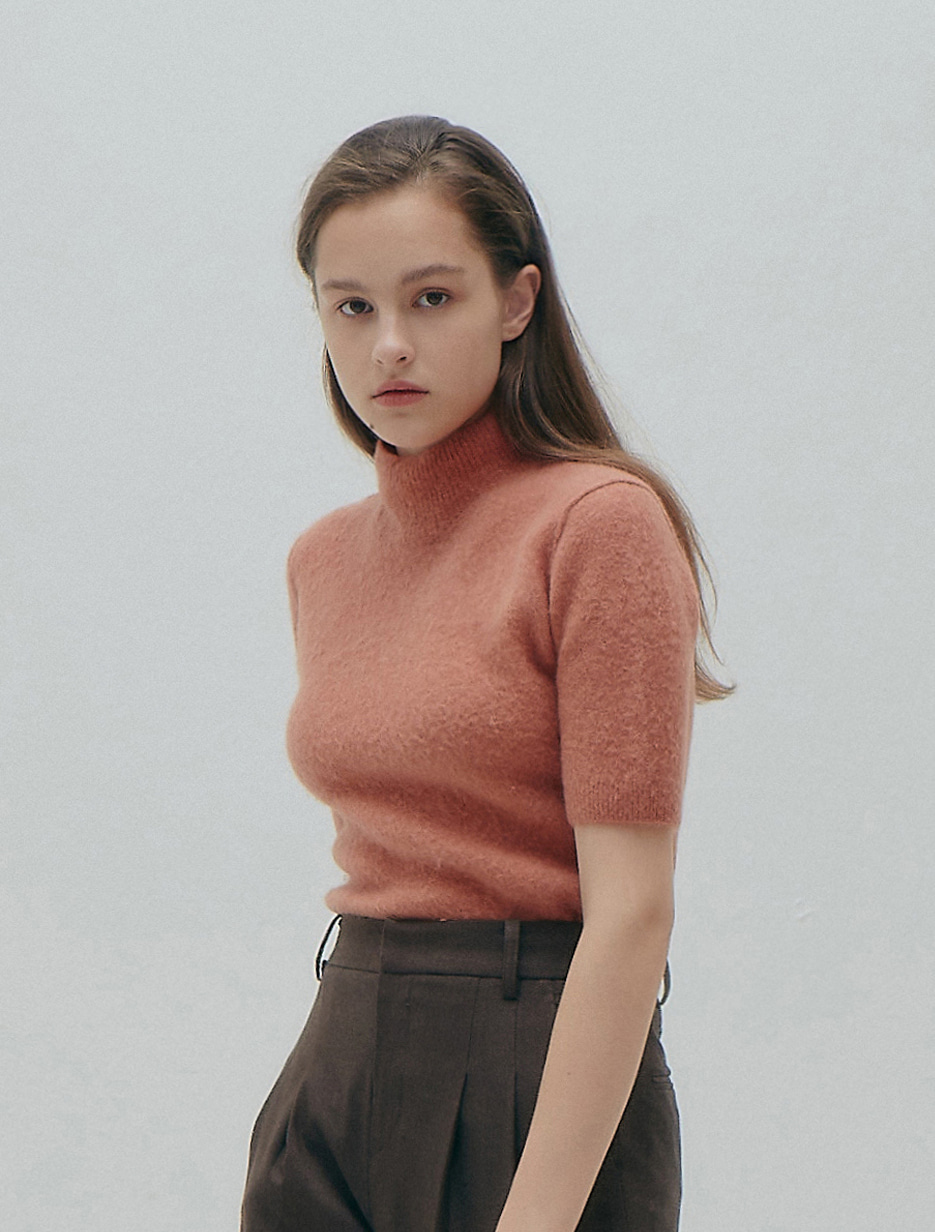 Short Sleeve Turtleneck (Coral)