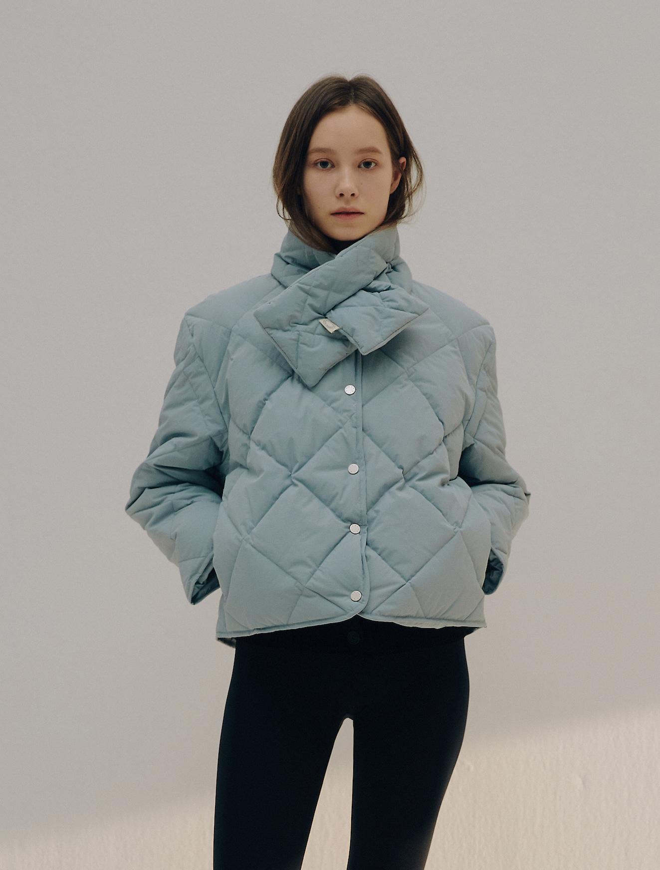 5th REORDER · Quilted Goose Down Jacket & Muffler Set (Sky)
