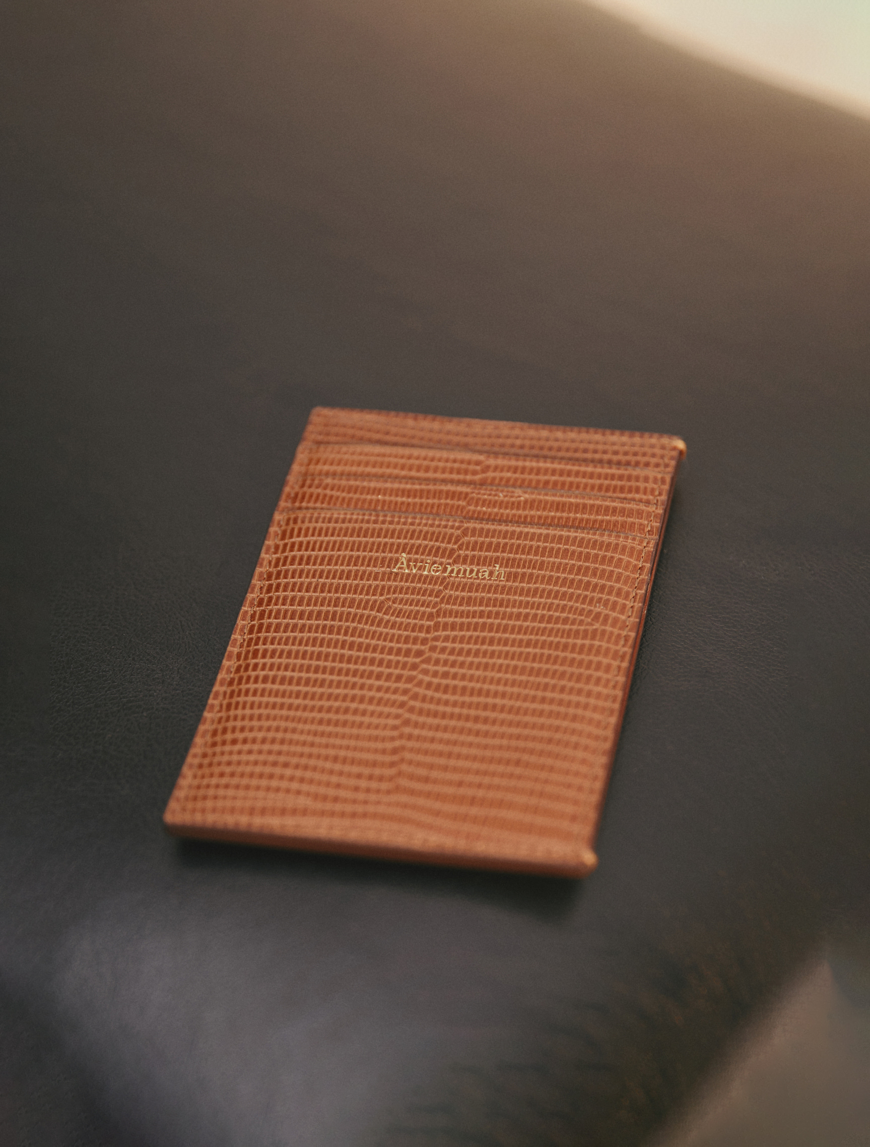 2nd REORDER · 7 Pocket Card Holder (Lizard Cognac)