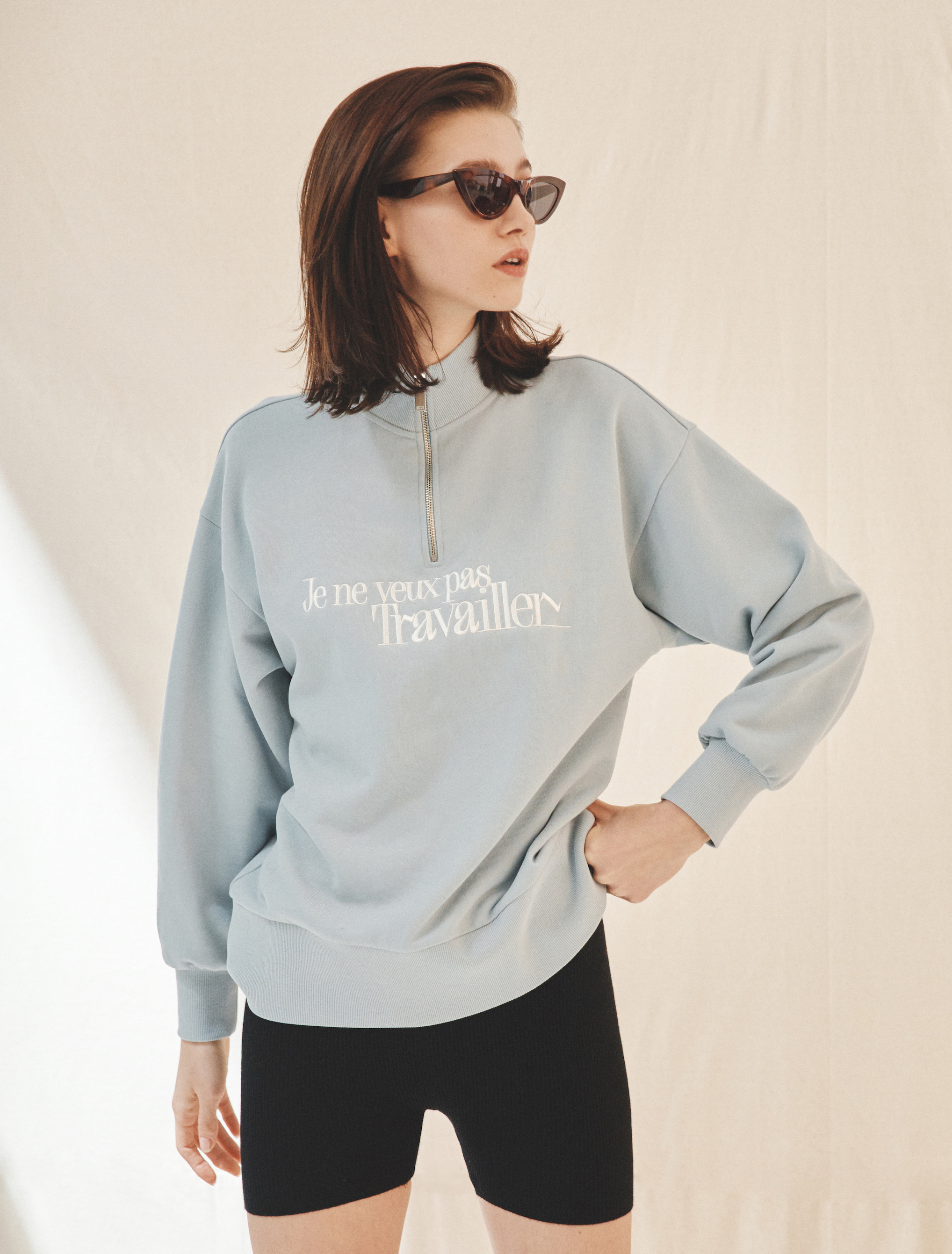 Half-Zip Sweatshirt (Blue)