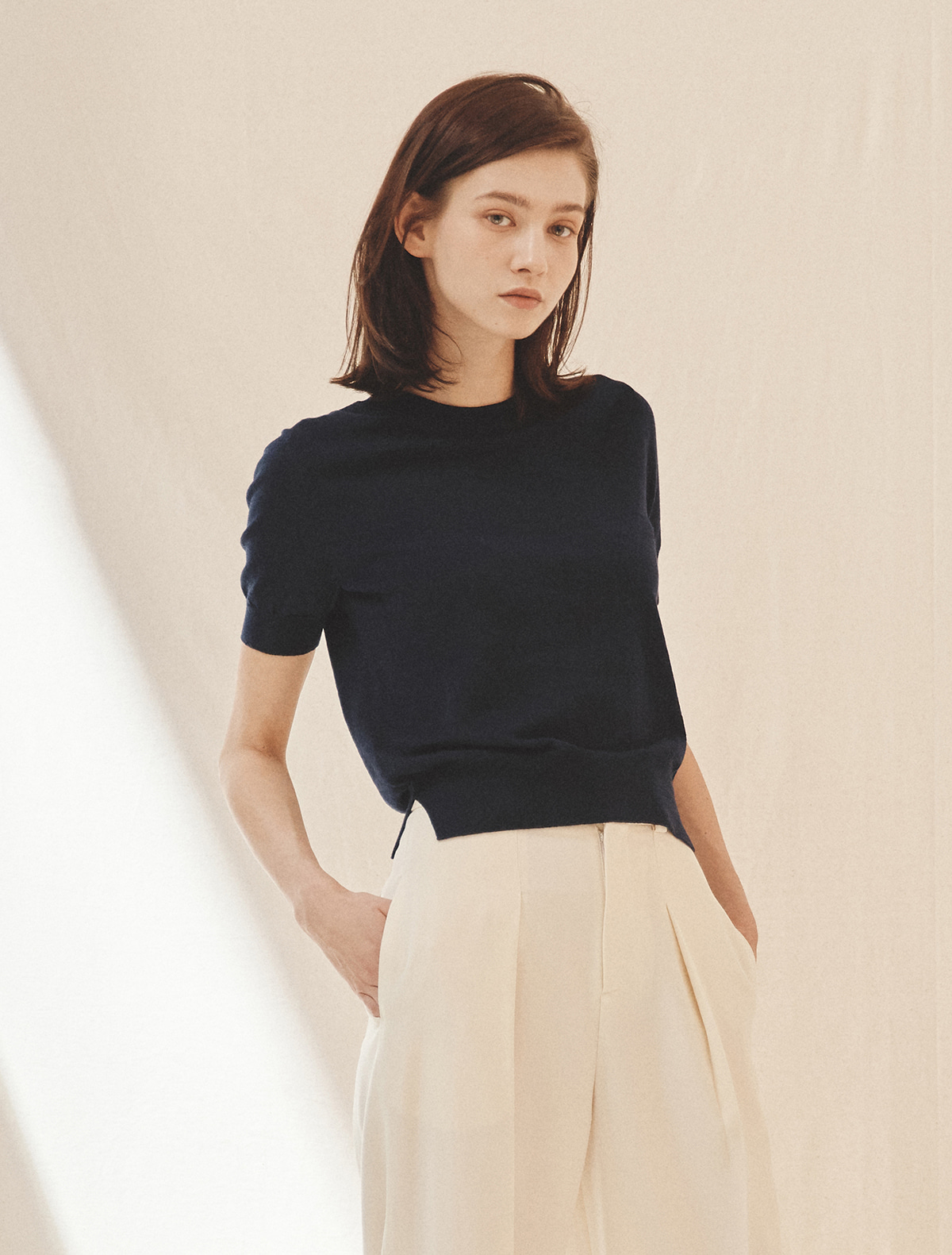 Cotton-Cashmere Short-Sleeve Sweater (Navy)
