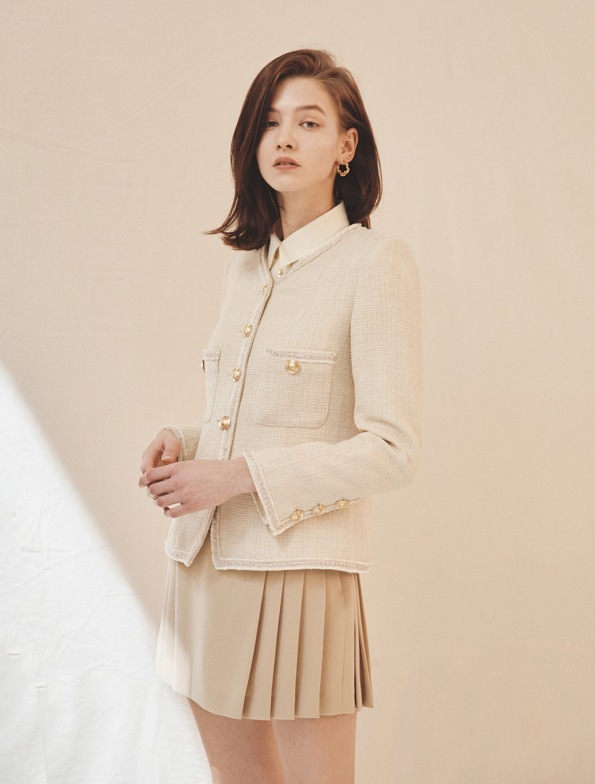 Trim Tweed Jacket (Cream)