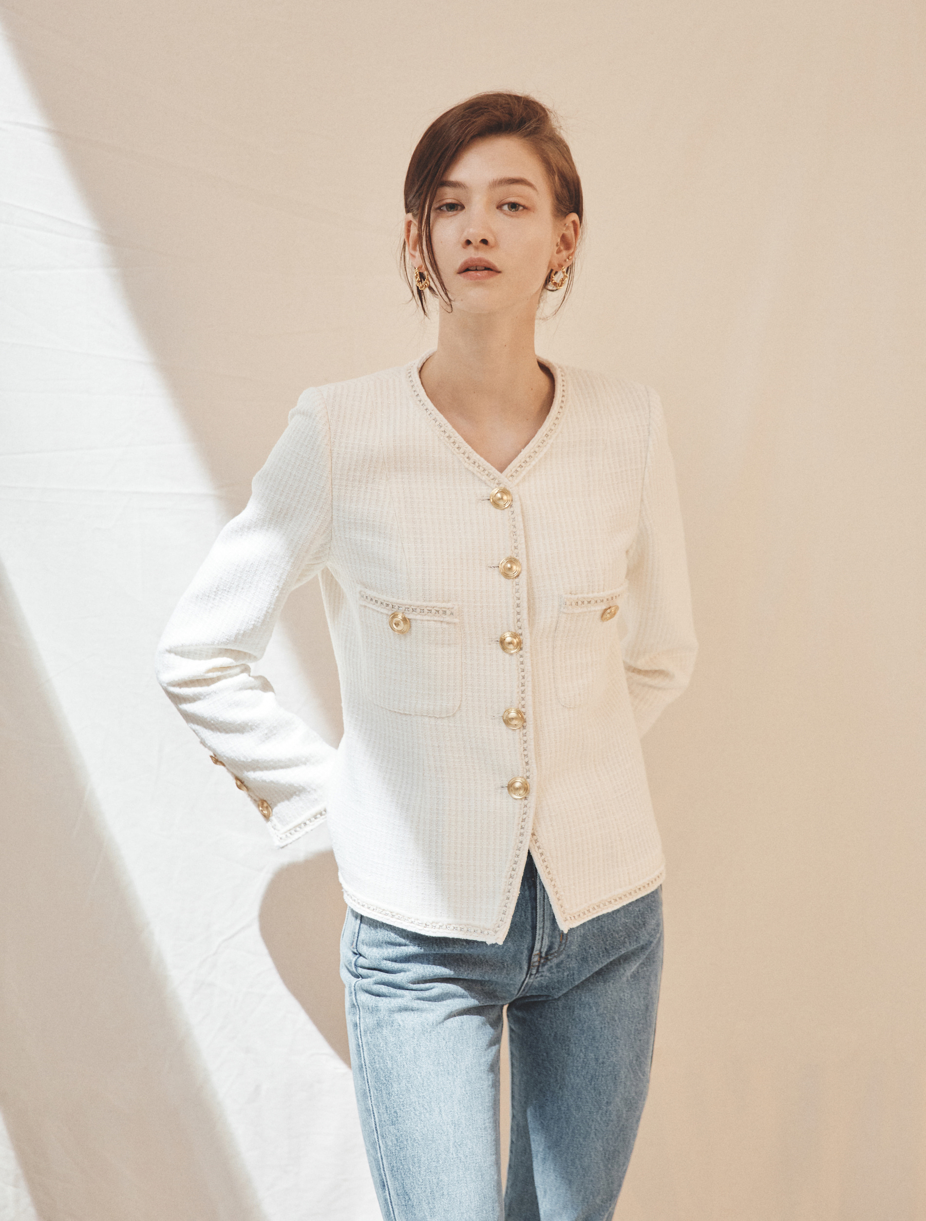 Trim Tweed Jacket (White)