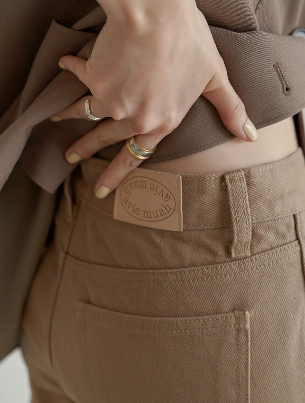 Low-Rise Cotton Pants (Cream/Walnut)
