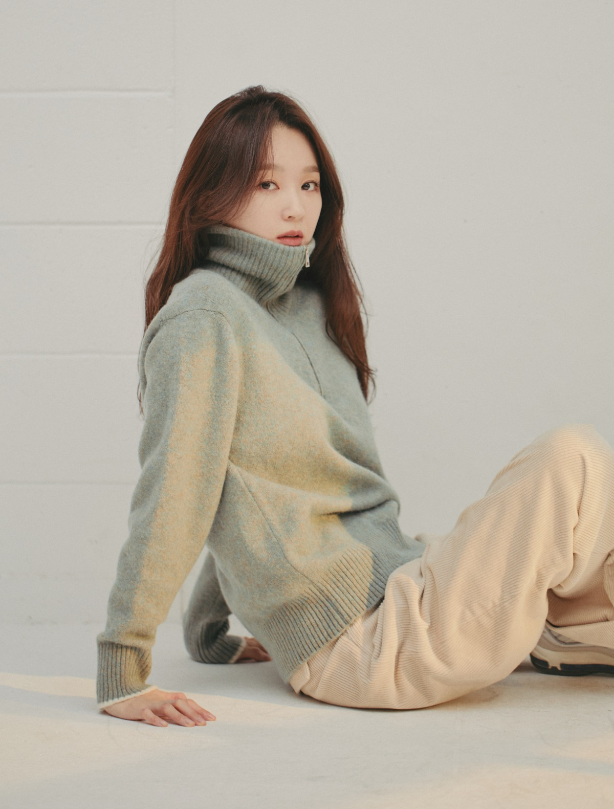 Half-Zip Turtleneck (Celadon Green)