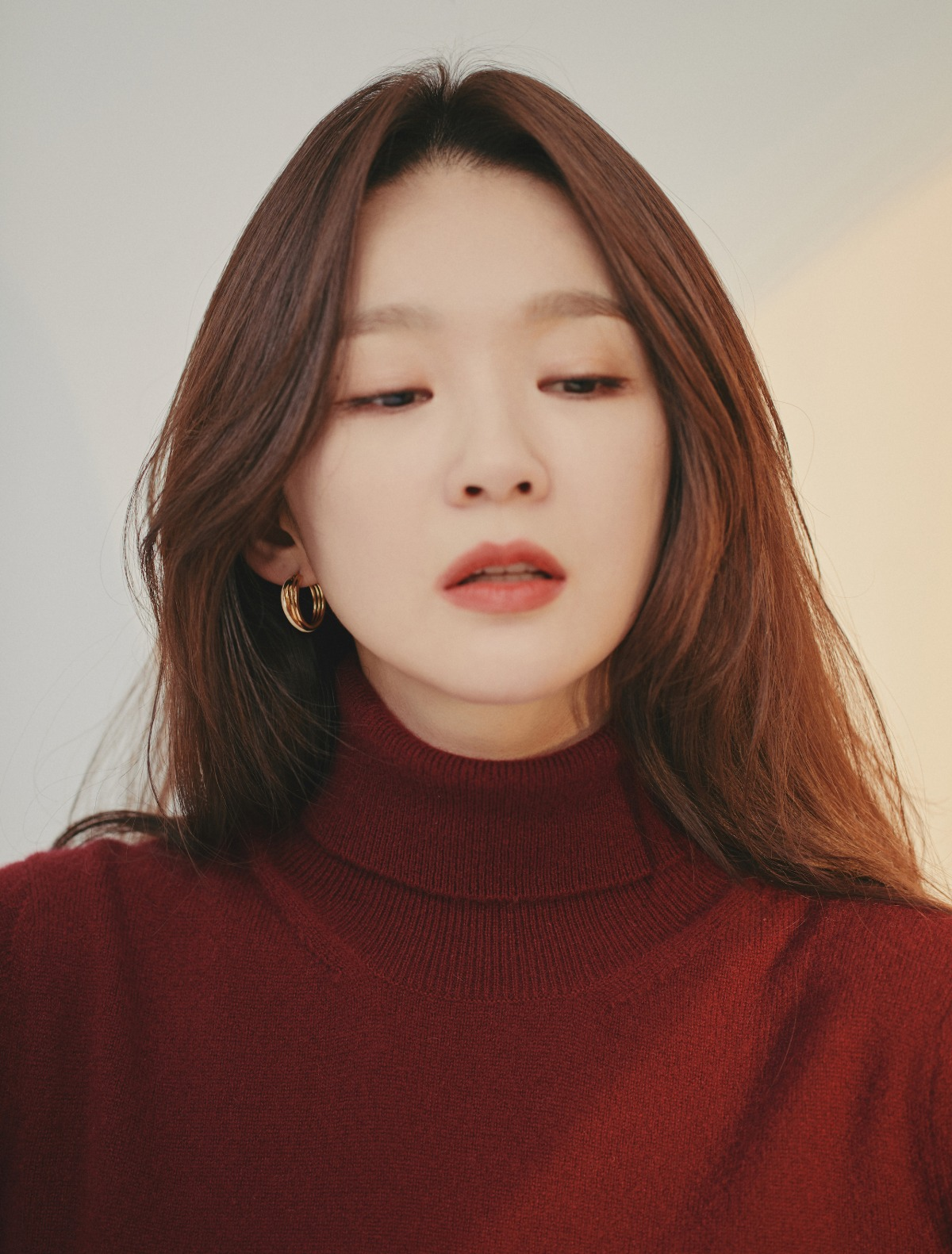 Roll-Neck Pure Cashmere Turtleneck (Burgundy)