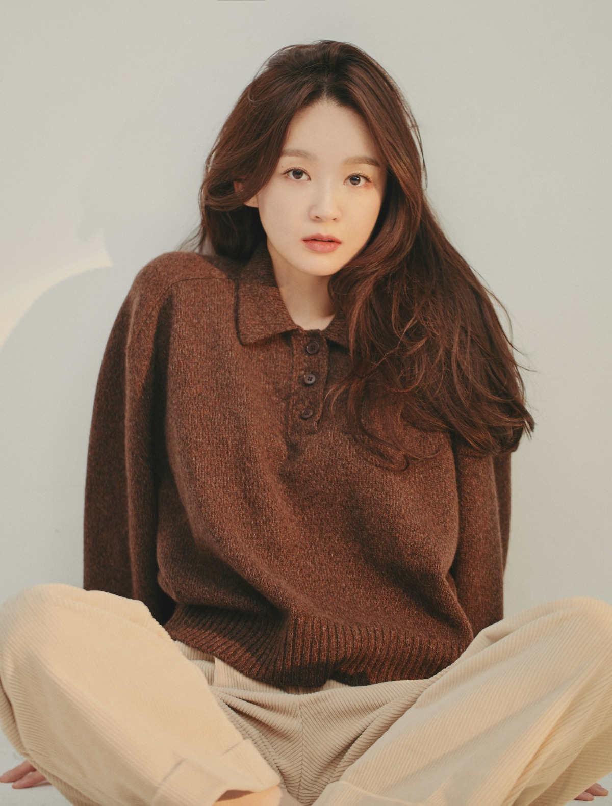 Pure Cashmere Polo Sweater (Dark Brown)