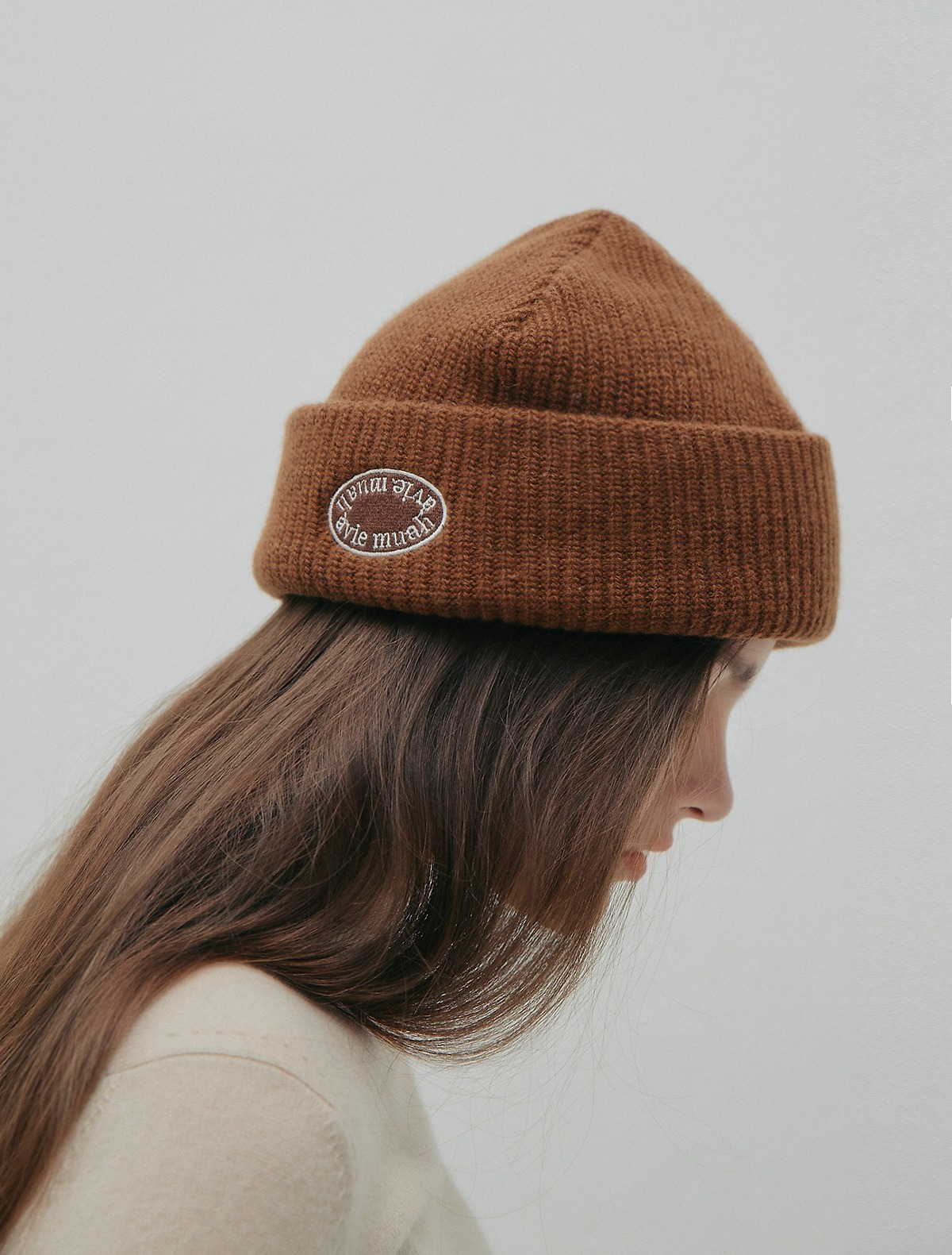 Ribbed Wool-Blend Beanie (Camel/Navy)